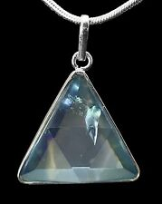 Merkaba Vogel Aqua Aura Quartz .925 SS Sterling Silver Triangle Pendant 28mm