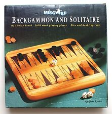 WOODEN BACKGAMMON & SOLITAIRE GAME