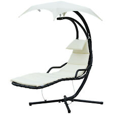 Outdoor Hanging Chaise Lounge Chair  w/ Canopy Air Porch Swing Hammock Arc Stand