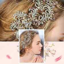 Vintage Style Feather Rhinestone Wedding Bridal Bride Gold Hair Clip Headpiece