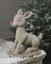 "Roman Lights 18"" Solar Rudolph Statuary Outdoor Garden Statue Christmas # 38207"