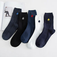 5 Pairs Men's Business Pier Polo Solid Crew Combed Cotton Dress Socks Casual