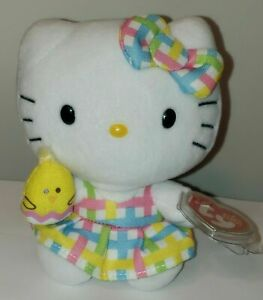 Ty Beanie Baby HELLO KITTY Easter Spring Floral Dress Holding Yellow Bunny MWMT