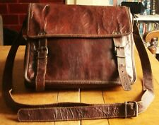 VINTAGE DISTRESSED BROWN LEATHER SATCHEL BAG UNISEX