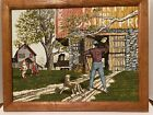 H. Hargrove Artistic Impression Oil Certified Picture Dad throwing football