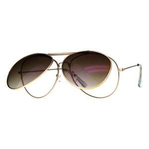 Flip Up Pilot Sunglasses Clear Lens Glasses Unisex Metal Frame UV 400