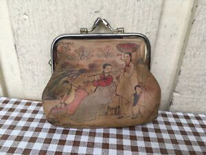 Women's kisslock printed leather coin purse wallet. Brown, Family theme.