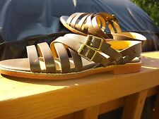 G.H. BASS brown leather flat sandals size 8 M double straps