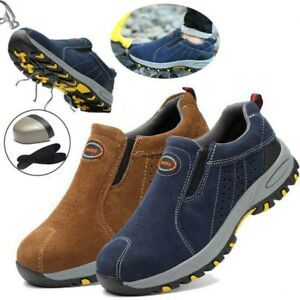 UK Mens Safety Shoes Steel Toe Cap Work Boots Slip On Shoes Protect Trainers A1