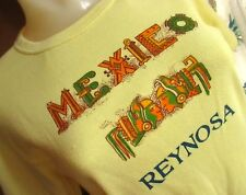 Large/Medium True Vtg 70s Womens Rayon Blend Disco Mexico Graphic Yellow T-shirt