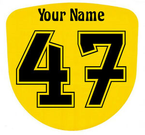 3 x Custom Race Numbers and Name Stickers Decals Kart Motocross MX Dirt Bike -S3