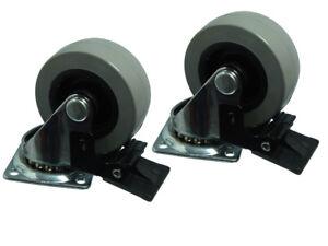 50mm Platte Befestigung Einzel Transporträder Drehbar mit Bremse 100 Laufrollen