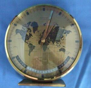 Mid-Century  Kienzle Chronoquartz World Time Zone Brass desk Clock, Germany