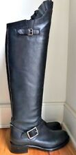 VALENTINO BLACK LEATHER OVER THE KNEE PULL ON BOOTS SZ 37.5 EXCELLENT CONDITION