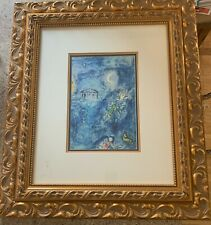 "Marc Chagall (After), ""Homage 'a Ravel"" - A Dreamscape in Blues; Signed, Framed"