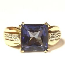 14k yellow gold .03ct diamond emerald created Iolite band ring 6.7g estate