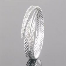 Stylish Vogue 925 Sterling Silver Plated Lady Feather Open Cuff Bangle Bracelet