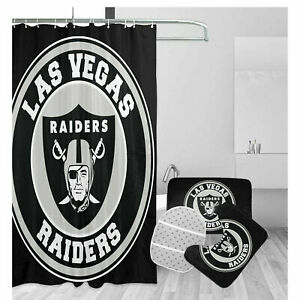 Las Vegas Raiders Football Bathroom Rugs Shower Curtains Mat Toliet Lid Cover