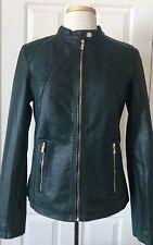 NWT Womens Calvin Klein Moto Faux Leather Full Zip Biker Jacket Malachite Green