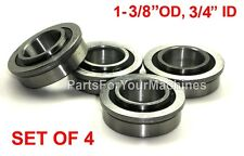 "4 BEARINGS 1-3/8"" OD, 3/4"" ID, FLANGED. GO KARTS, CARTS, DOLLIES, 4X4, WHEELS"