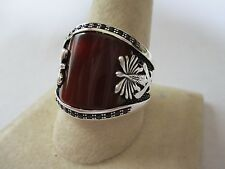 Gorgeous Islamic style sterling silver Carnelian men's ring 925 new style sz 12