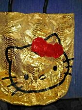 BLOW OUT SALE @ HELLO KITTY Tote Purse LARGE Handbag Glitter Bling Gold ❤️ts17j