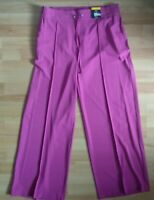 M&S Pink Fushia Pull On Wide Leg Trousers Size 16/20 Elasticated Waist Pockets