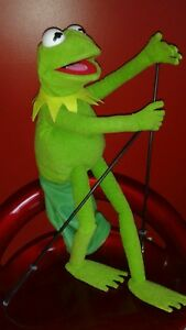 KERMIT FROG FULL BODY Hand Puppet wired hands, with arm RODS & SLEEVE