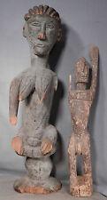 2 Vintage African Artifact Folk Art Ethic Carved Wood Figures AS IS Pre 1950