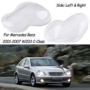 Pair Headlight Len Shell Cover Replacement For 01-07 Mercedes Benz W203 C-Class