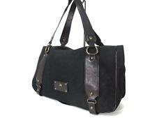 Authentic BURBERRY LONDON BLUE LABEL Canvas Leather Black Shoulder Bag B11404L