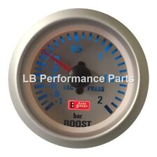 "Boost Gauge Bar Autogauge 52mm (  2"" ) Silver Face 2 Bar - Mechanical"