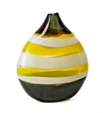 Dylan Palmer Art Glass Studio Vase, acid yellow, white and olive green, signed