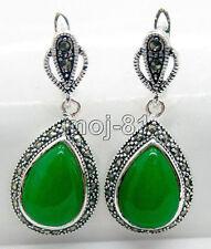 New Fashion Teardrop Green Jade Marcasite 925 Sterling Silver Leverback Earrings
