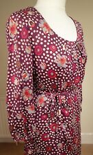 Boden 100% Silk Belted Shift Dress Lined Purple Spotted Day Evening Size UK 10R