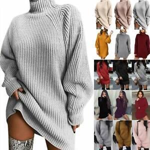 Frauen Strickkleid Sweater Pulloverkleid Pullikleid Minikleid Rollkragen Jumper