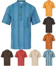Grandad Shirt Short Sleeved Striped 100% Cotton Kurta Hippie Jacket Nepal Boho