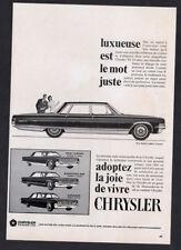 1965 CHRYSLER New Yorker 4-door Sedan Vintage Original Print AD - Saratoga 300