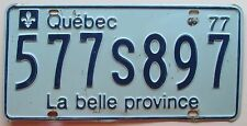 Quebec 1977 License Plate # 577S897