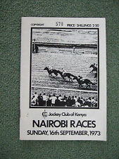Horse racing Programme from Jockey Club of Kenya, Nairobi Races. September 1973.
