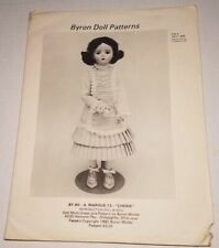 """Byron Doll Patterns By-A. Marque 12 """"Cherie"""" Fits 15 1/2"""" Dolls Head /Toe uncut"""