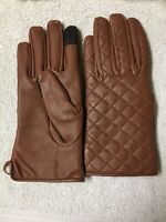 Dwellbee Brown Leather Gloves Quilted Stitch Touchscreen Women's Sz Medium NEW!!