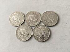5 pièces de 50 cts en argent La Semeuse 1915/16/17/18/19