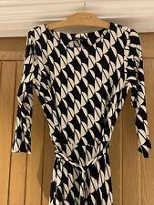 BNWT Wallis Black & Cream Print Midi Dress - Size 12