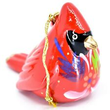 Handcrafted Painted Ceramic Red Cardinal Confetti Ornament Made in Peru