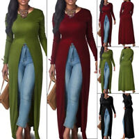 Women Casual Slim Long Sleeve Open Front Split Maxi Dress Long Shirt Tops Cxz