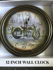 """12"""" Harley Motorcycle Ticking Wall Clock Battery Operated. Great Gift man cave"""