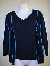 evie black/turquoise 2 piece top with jacket/sweater womens S