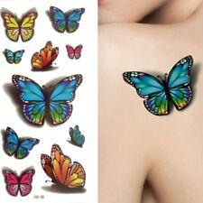 10x Butterflies 3D Multicoloured Temporary Tattoo Fake Sticker Women Girls Hand