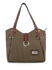 LEATHER TAB CANVAS STRIPED SHOULDER BAG COGNAC TRIM s